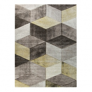 Teppich Im Pastell Trend, Beige Braun Gelb | Moderne Muster In 3D Optik