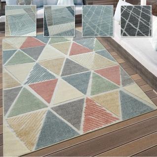 In- & Outdoor Teppich, Terrasse u. Balkon, Wetterfest Modern Geometrische Muster