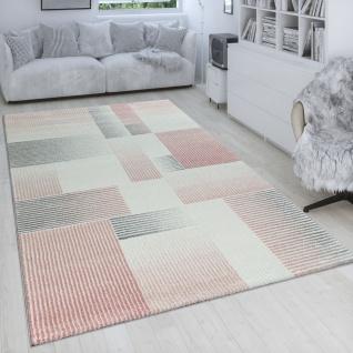 Wohnzimmer-Teppich in Pastellfarben, Kurzflor Mit Linien Und Karo-Muster, Rosa