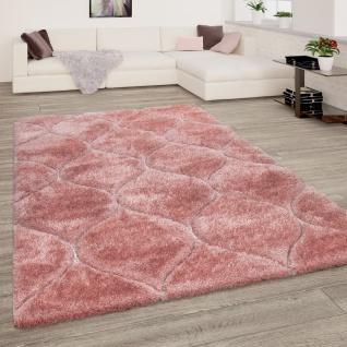 Hochflor Teppich Wohnzimmer Shaggy 3D Effekt Geometrisches Muster Modern Rosa