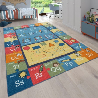 Kinderteppich Bunt Weich Alphabet Buchstaben Zahlen Formen Bordüre Lernspiele