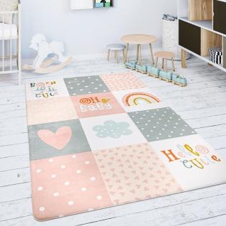 Kinderteppich Teppich Kinderzimmer Spielmatte Rauten Sterne Grau Rosa Weiß
