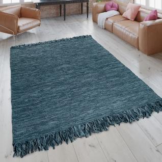 Lederteppich Wohnzimmer Flickenteppich Echtlederstreifen Handgewebt Blau Grau