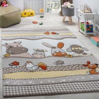 Kinderteppich Kinderzimmer Lustige Bauernhof Tiere Konturenschnitt Beige Grau