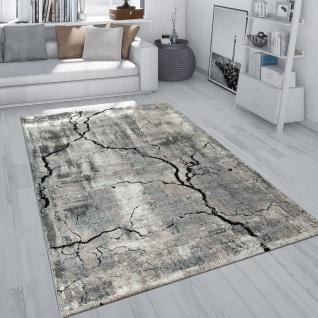Kurzflor Teppich Wohnzimmer Grau Weich Used Look Beton Design 3-D Muster Risse