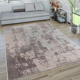 Teppich Wohnzimmer Kurzflor Vintage 3D Effekt Modern Abstraktes Muster Grau Beige