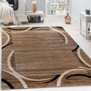 Wohnzimmer Teppich Bordüre Kurzflor Meliert Modern Hochwertig Schwarz Braun
