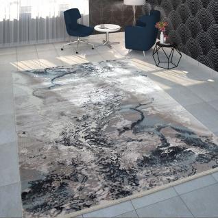 Teppich Wohnzimmer Grau Weiß Blau Polyacryl Kurzflor Modern Marmor Design