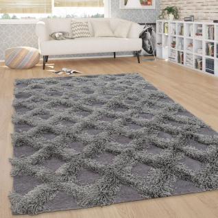 Hochflor Teppich, Wohnzimmer Shaggy m. 3D Rauten Muster, Skandinavischer Stil - Vorschau 2