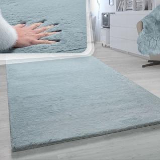 Hochflor Teppich Für Wohnzimmer Softes Kaninchenfell Imitat Kunstfell In Türkis