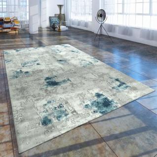 Kurzflor Wohnzimmer Teppich Used Look Abstrakt Gemalde Optik Grau