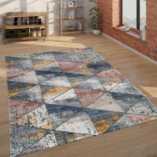 Teppich Wohnzimmer Kurzflor Mit Rauten Muster Vintage Look, Modern Mehrfarbig
