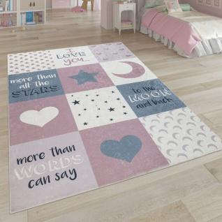 Kinderteppich, Waschbarer Kinderzimmer Teppich m. Stern, Mond u. Karo Motiven