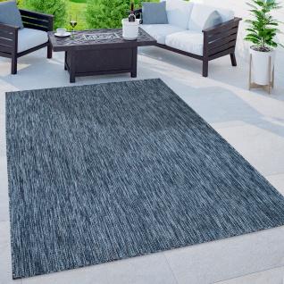 Outdoor Teppich Balkon Terrasse Küchenteppich Einfarbig Meliertes Muster Blau