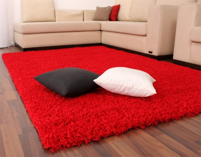 Shaggy Hochflor Langflor Teppich Sky Einfarbig in Rot