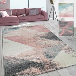 Wohnzimmer Teppich, Moderner Kurzflor in Pastell Farben, Vintage Galaxy Muster