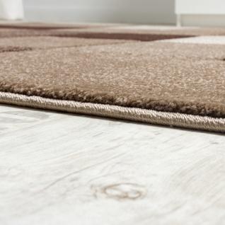 Designer Teppich Modern Handgearbeiteter Konturenschnitt Kariert Braun Beige - Vorschau 3