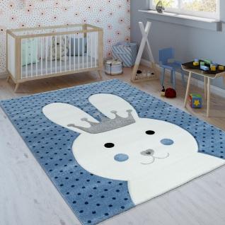 Kinderteppich Indigo Blau Modern Trend Hase Mit Krone Gepunktet 3D Kurzflor