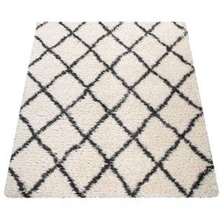 Hochflor Teppich Wohnzimmer Shaggy Skandi Rauten Muster Weich Flauschig In Creme - Vorschau 5