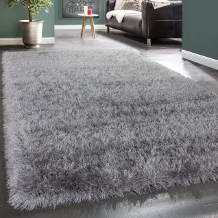 Moderner Wohnzimmer Shaggy Hochflor Teppich Soft Garn In Uni Hellgrau Grau