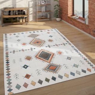 Teppich Wohnzimmer Geometrisches Ethno Muster Modern, Mehrfarbig Weiß Blau Rot