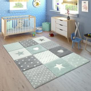 Kinderteppich Kinderzimmer Kariert Punkte Herzen Sterne In Pastell Grün Grau