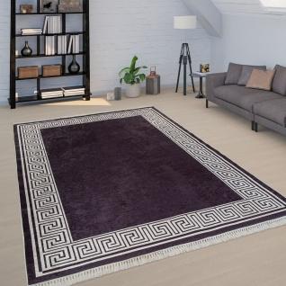 Kurzflor Teppich Schwarz Wohnzimmer Weiße Bordüre Hochwertig Weich Robust
