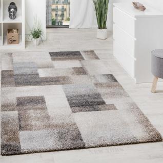 Teppich Meliert Modern Webteppich Hochwertig Kariert Beige Creme Grau