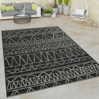 In- & Outdoor Flachgewebe Teppich Modern Ethno Muster Zickzack Design Schwarz