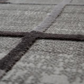 Wohnzimmer-Teppich, Kurzflor Mit Karo Muster, Bunte Akzente, 3D-Design In Grau - Vorschau 3