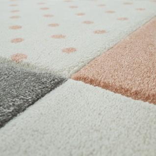 Kinderteppich Kinderzimmer Für Mädchen U. Jungen Mit Karo-Muster In Apricot Grau - Vorschau 3