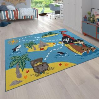 Kinderteppich Bunt Piraten Design Schiff Schatzsuche Hai Meer Weich Robust