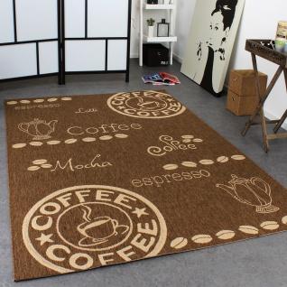Teppich Modern Flachgewebe Sisal Optik Küchenteppich Coffee Braun Beige Töne