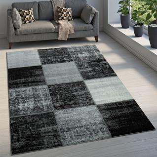 Designer Teppich Modern Kurzflor Karos Speziell Meliert Grau Schwarz Weiß