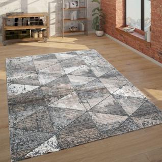 Teppich Wohnzimmer Kurzflor Mit Rauten Muster Vintage Look, Modern Beige Grau