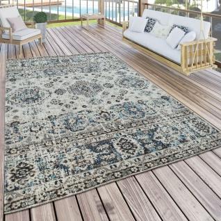 In- & Outdoor Teppich Modern Orient Design Terrassen Teppich Grau - Vorschau 1