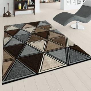 Kurzflor Teppich Grau Beige Braun Wohnzimmer 3-D Design Rauten Muster Modern
