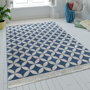Teppich Wohnzimmer Kurzflor Kreise Batik In Blau Grau Modern Retro