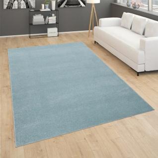 Teppich Für Wohnzimmer Einfarbig Kurzflor Schlicht Und Modern, In Türkis