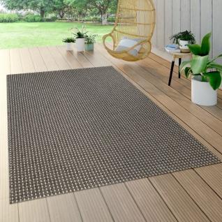 In- & Outdoor Flachgewebe Teppich Sisal Optik Natürlicher Look Uni Braun Grau