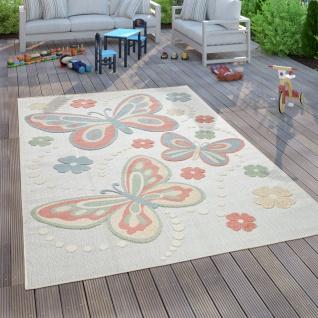 Kinderteppich Kinderzimmer Outdoorteppich Spielteppich 3D Schmetterlinge Bunt
