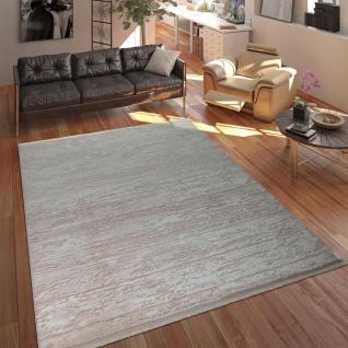 Designer Polyacryl Teppich Hochwertig Modern Used Look Abstrakt 3D Effekt Rosa - Vorschau 1