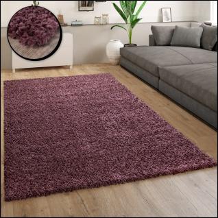 Hochflor Teppich Wohnzimmer Shaggy Langflor Modern Einfarbig Lila Violett