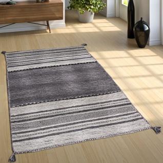 Wohnzimmer Natur Teppich m. Fransen, Handgewebter Muster Kelim, 100% Baumwolle - Vorschau 3