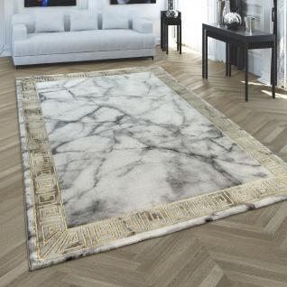 Kurzflor Teppich Wohnzimmer Grau Gold Weich Marmor Muster 3-D Bordüre Robust