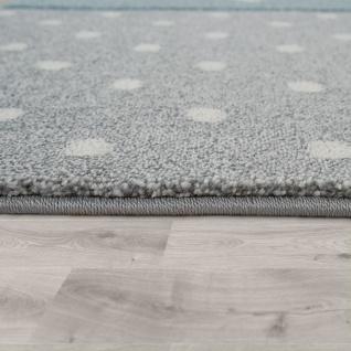 Kinder Teppich Blau Grau Pastellfarben Karo Muster Sterne Punkte 3-D Design - Vorschau 2