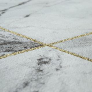 Teppich Wohnzimmer Grau Gold Weich Rauten Muster Marmor Design Meliert Kurzflor - Vorschau 3
