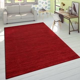 Wohnzimmer Teppich Kurzflor Modern Einfarbig Weich Velours Meliert In Uni Rot