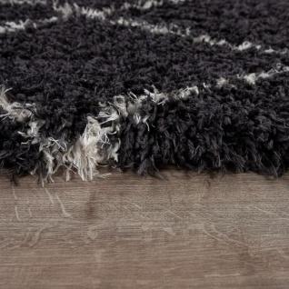 Hochflor Teppich Wohnzimmer Shaggy Skandi Rauten Muster Weich Flauschig Grau - Vorschau 2
