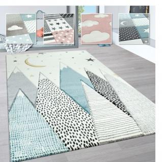 Kinderteppich Kinderzimmer Pastell Teppich 3D Wolken Stern Regenbogen